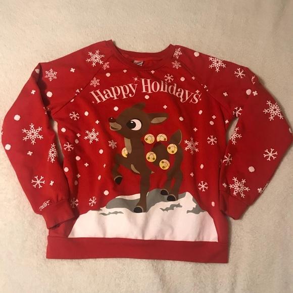 Tops - Rudolph Christmas sweatshirt Happy Holidays L